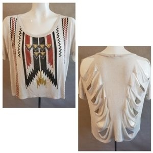 Aztec Cropped Distressed Shirt